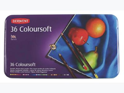 DERWENT COLOURSOFT SET 36 KLEUREN IN METALEN ETUI 1