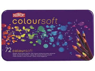 DERWENT COLOURSOFT SET 72 KLEUREN IN METALEN ETUI