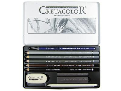 CRETACOLOR ARTINO GRAPHITE SET METAL BOX, 10-DELIG, 400.21