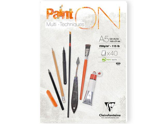 CLAIREFONTAINE PAINT-ON BLOK A5 250GRAM WIT 1