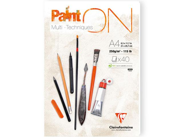 CLAIREFONTAINE PAINT-ON BLOK A4 250GRAM WIT 1
