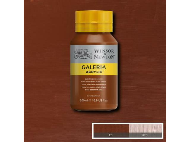 W&N GALERIA ACRYLIC 500ML 076 BURNT UMBER