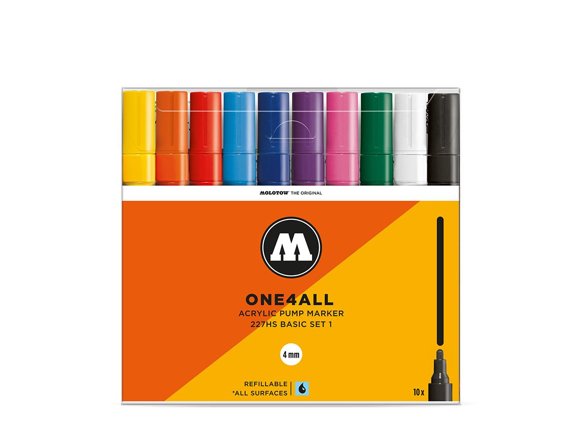 MOLOTOW ONE4ALL MARKERSET 227HS 4MM BASIC 2 10STUKS