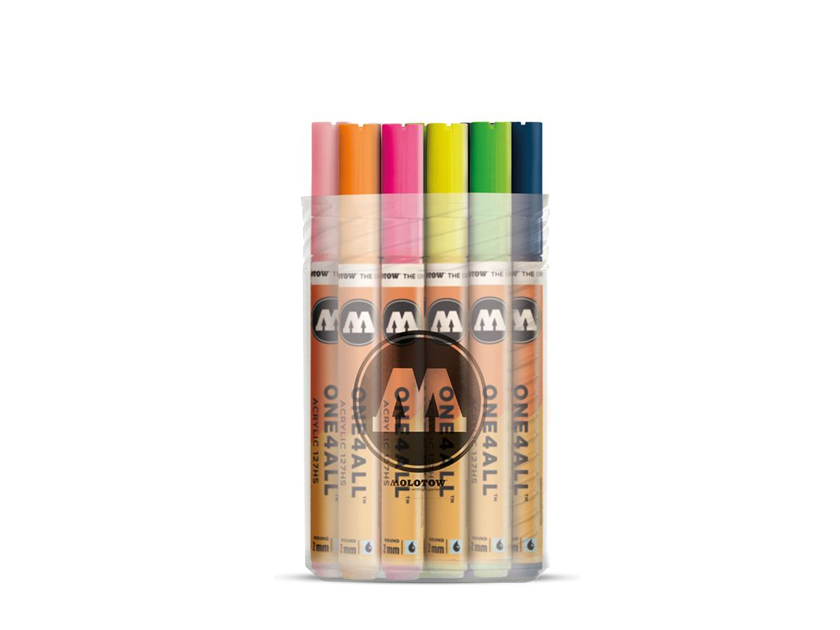 MOLOTOW ONE4ALL MARKERSET 127HS 2MM BASIC 2 6STUKS
