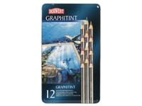 DERWENT GRAPHITINT 12-KLEUREN SET IN METALEN ETUI