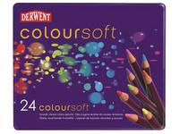 DERWENT COLOURSOFT SET 24 KLEUREN IN METALEN ETUI