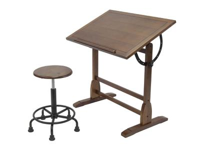 VINTAGE RETRO STOOL -RUSTIC OAK - PNEUMATIC SEAT ADJUSTMENT 3